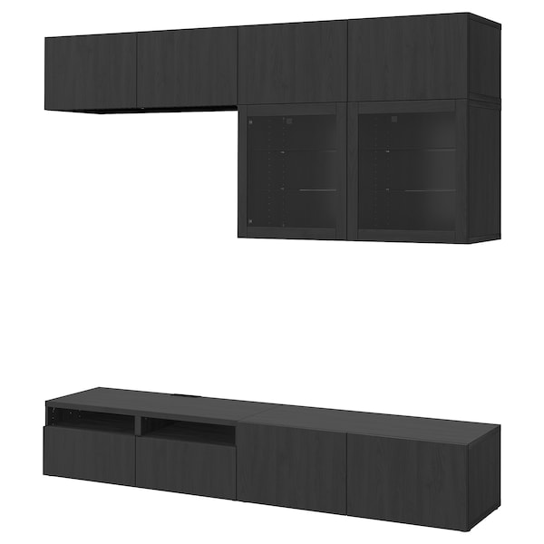 BESTÅ TV storage combination/glass doors, Lappviken/Sindvik black-brown clear glass, 240x40x230 cm