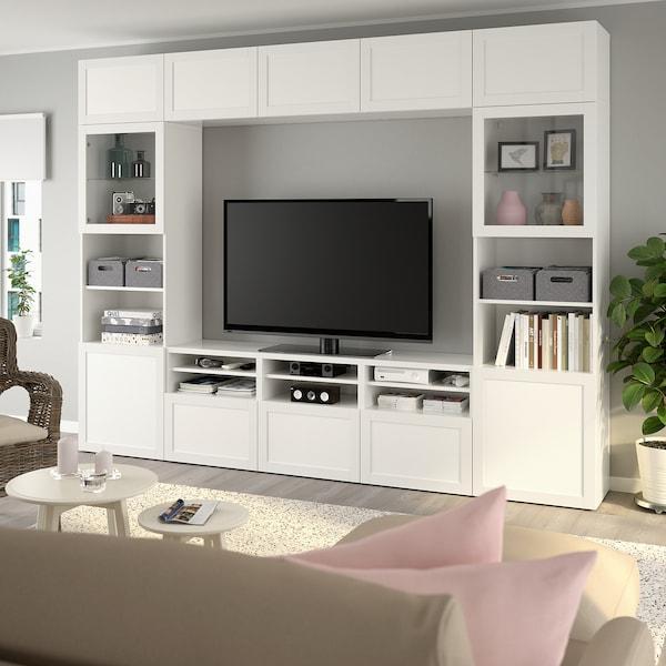 BESTÅ TV storage combination/glass doors, white/Hanviken white clear glass, 300x42x231 cm