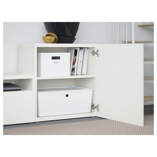 BESTÅ تشكيلة تخزين تلفزيون/أبواب زجاجية, أبيض/Lappviken أبيض زجاج شفاف, 300x42x211 سم
