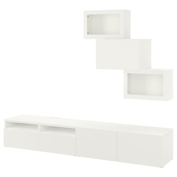 BESTÅ تشكيلة تخزين تلفزيون/أبواب زجاجية, أبيض/Lappviken أبيض زجاج شفاف, 240x42x190 سم