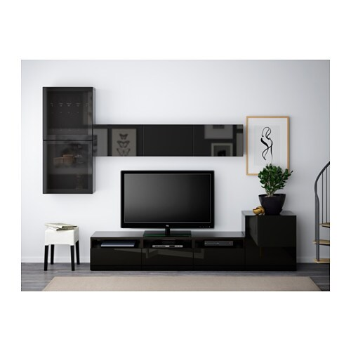 Wohnwand ikea besta  BESTÅ TV storage combination/glass doors - black-brown/Lappviken ...