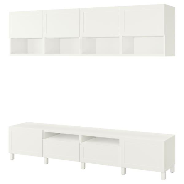 BESTÅ مجموعة تخزين تليفزيون, أبيض/Hanviken/Stubbarp أبيض, 240x42x230 سم