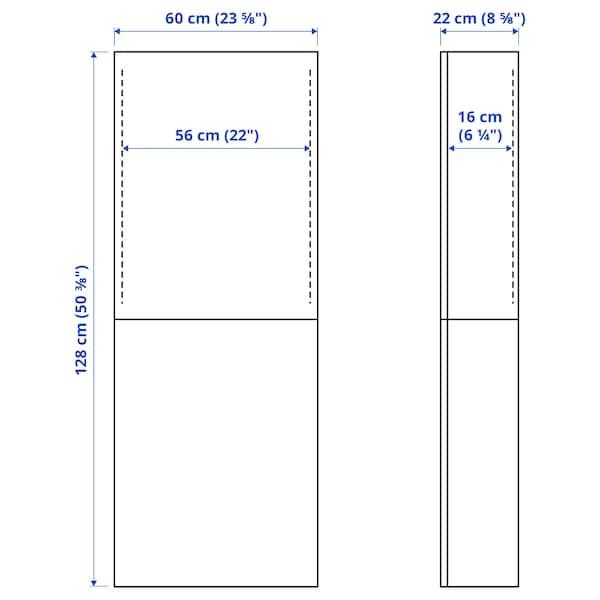 BESTÅ خزانة حائط مع بابين, أبيض/Hanviken أبيض, 60x22x128 سم