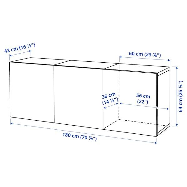 BESTÅ تشكيلة خزانة حائطية, مظهر الجوز مصبوغ رمادي/Lappviken مظهر الجوز مصبوغ رمادي, 180x42x64 سم