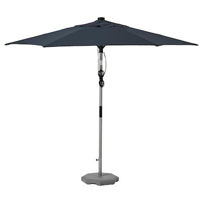 BETSÖ / LINDÖJA Parasol with base, grey wood effect dark blue/Huvön, 300 cm
