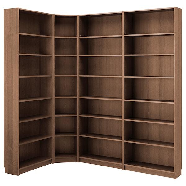 BILLY Bookcase, brown ash veneer, 215/135x28x237 cm