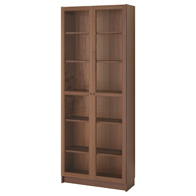 BILLY / OXBERG Bookcase, brown ash veneer, 80x30x202 cm