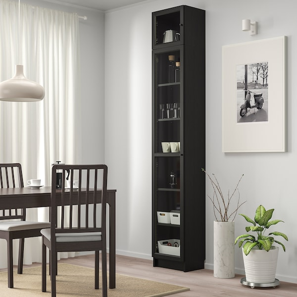 BILLY / OXBERG Bookcase with glass door, black-brown/glass, 40x30x237 cm