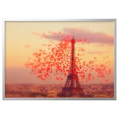BJÖRKSTA Picture with frame, Eiffel tower/aluminium-colour, 140x100 cm