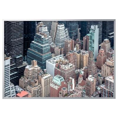 BJÖRKSTA صورة مع برواز, نيويورك من الأعلى/لون الومونيوم, 200x140 سم