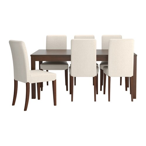 BJURSTA / HENRIKSDAL Table and 6 chairs   It's quick and easy to change the size of the table to suit your different needs.