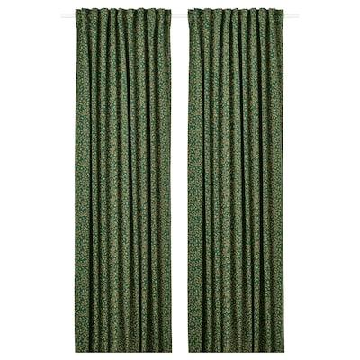 BLÅBÄRSMOTT Block-out curtains, 1 pair, green, 145x300 cm
