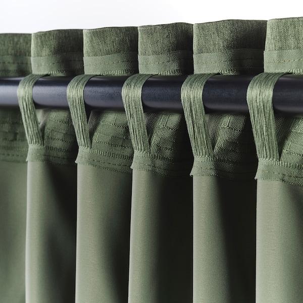 BLÅHUVA block-out curtains, 1 pair green 300 cm 145 cm 3.19 kg 4.35 m² 2 pieces