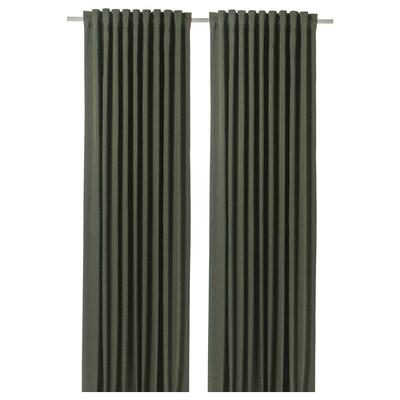 BLÅHUVA Block-out curtains, 1 pair, green, 145x300 cm