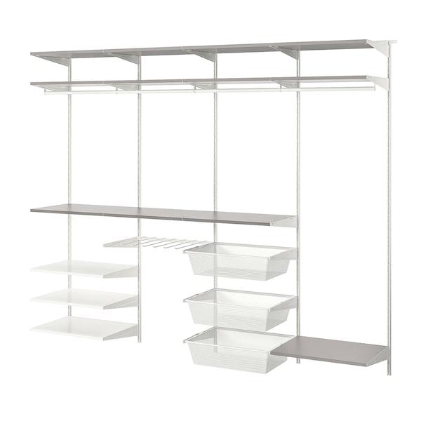 BOAXEL Wardrobe combination, white/grey, 250x40x201 cm