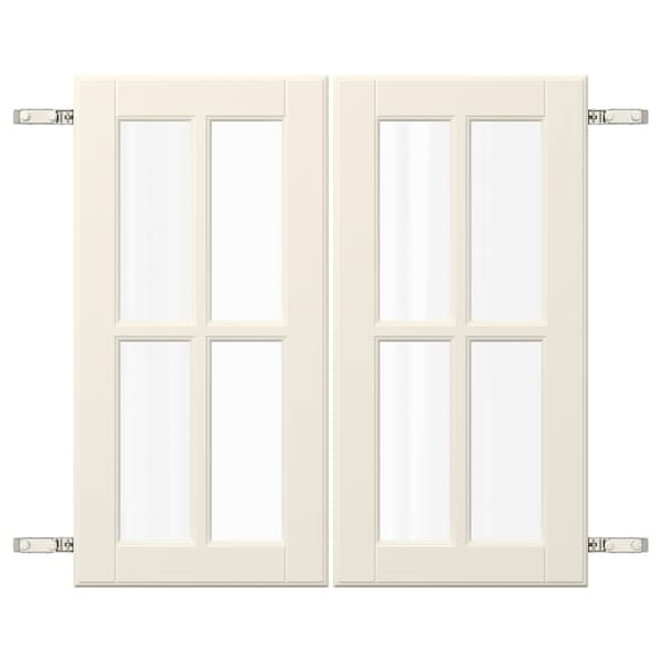 BODBYN Door pair with hinges, off-white, 60x60 cm