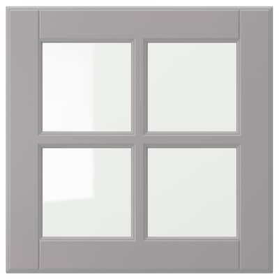 BODBYN Glass door, grey, 40x40 cm