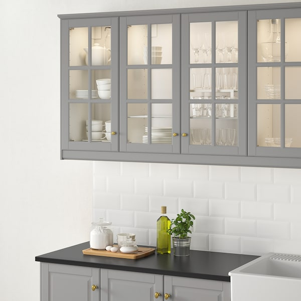 BODBYN Glass door, grey, 40x80 cm