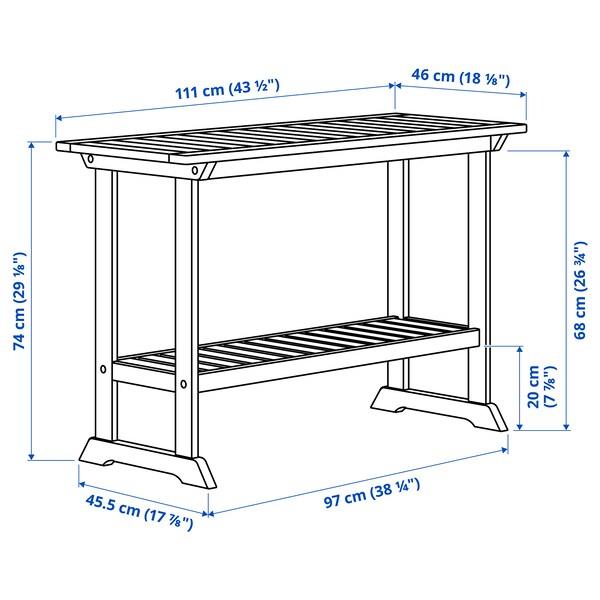 BONDHOLMEN Console table, outdoor, grey, 111x46 cm