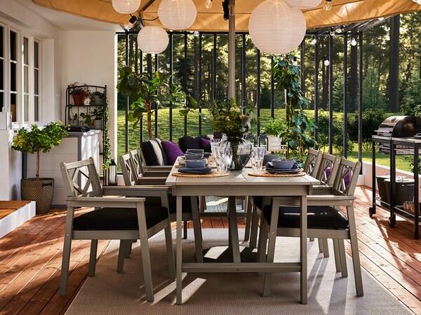 BONDHOLMEN طاولة+6كراسي بمساند ذراعين،خارجية, صباغ رمادي/Järpön/Duvholmen فحمي