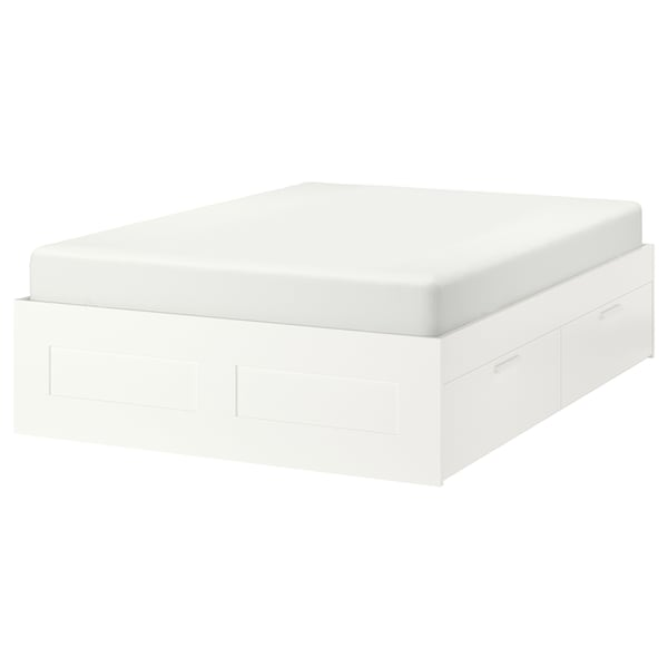 BRIMNES هيكل سرير+تخزين, أبيض/Lonset, 160x200 سم
