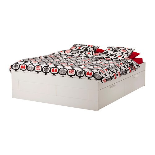 BRIMNES Bed frame with storage   The 4 large drawers give you an extra storage space under the bed.