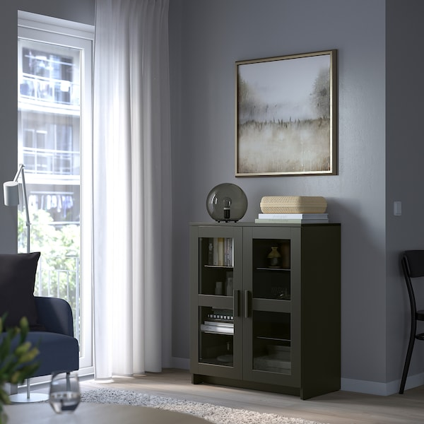BRIMNES خزانة مع أبواب, زجاج/أسود, 78x95 سم