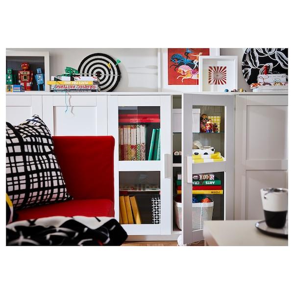 BRIMNES خزانة مع أبواب, زجاج/أبيض, 78x95 سم