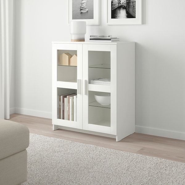 BRIMNES Cabinet with doors, glass/white, 78x95 cm