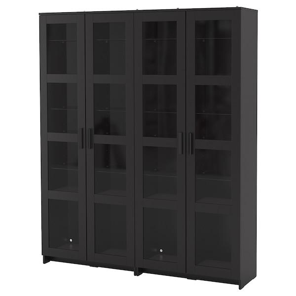 BRIMNES Storage combination w glass doors, black, 160x35x190 cm