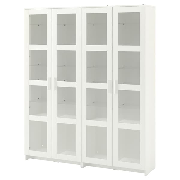 BRIMNES Storage combination w glass doors, white, 160x35x190 cm