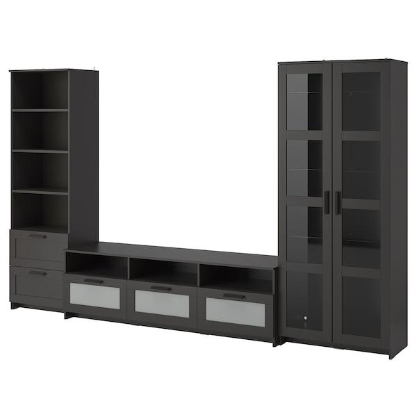 BRIMNES TV storage combination/glass doors, black, 320x41x190 cm