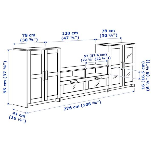 BRIMNES تشكيلة تخزين تلفزيون/أبواب زجاجية, أبيض, 276x41x95 سم
