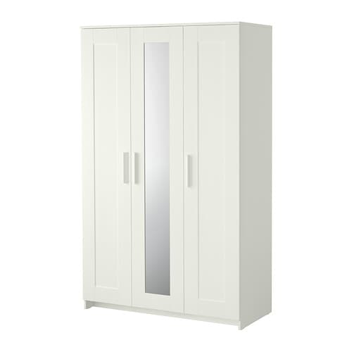 BRIMNES Wardrobe with 3 doors   The mirror door can be placed on the left side, right side or in the middle.