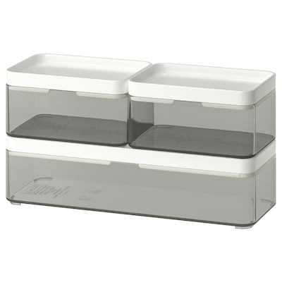 BROGRUND Box, set of 3, transparent grey/white