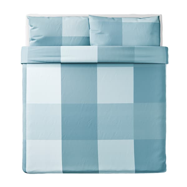 BRUNKRISSLA Quilt cover and 2 pillowcases, light blue, 240x220/50x80 cm
