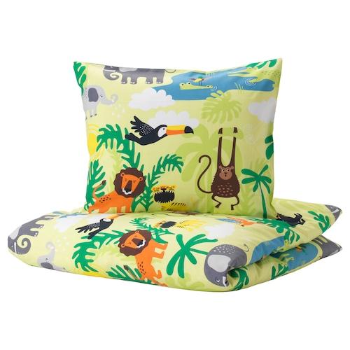 DJUNGELSKOG quilt cover and pillowcase animal/green 200 cm 150 cm 50 cm 80 cm