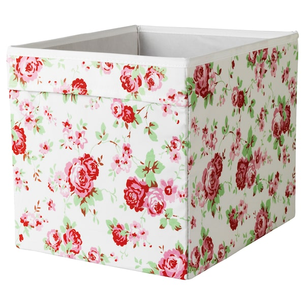DRÖNA Box, floral patterned, 33x38x33 cm