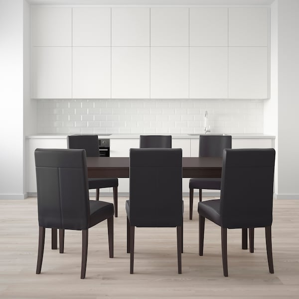 EKEDALEN / HENRIKSDAL Table and 6 chairs, dark brown/Glose black, 180/240 cm