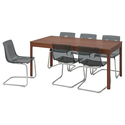 EKEDALEN / TOBIAS Table and 6 chairs, brown/grey, 180/240 cm