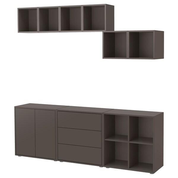 EKET Cabinet combination with feet, dark grey, 210x35x180 cm