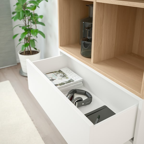 EKET cabinet combination with feet white/white stained oak effect 70 cm 35 cm 212 cm