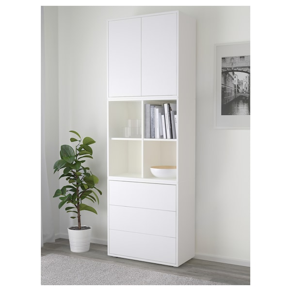 EKET Cabinet combination with feet, white, 70x35x212 cm