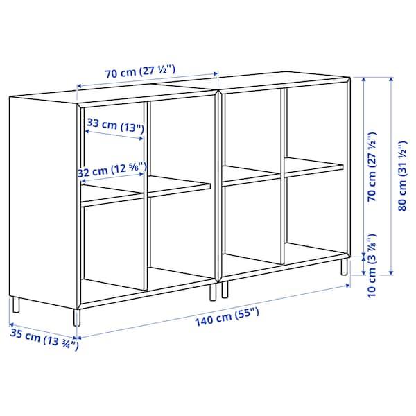 EKET Cabinet combination with legs, dark grey/wood, 140x35x80 cm