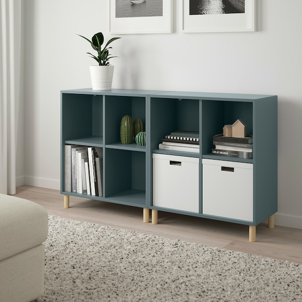 EKET Cabinet combination with legs, grey-turquoise/wood, 140x35x80 cm