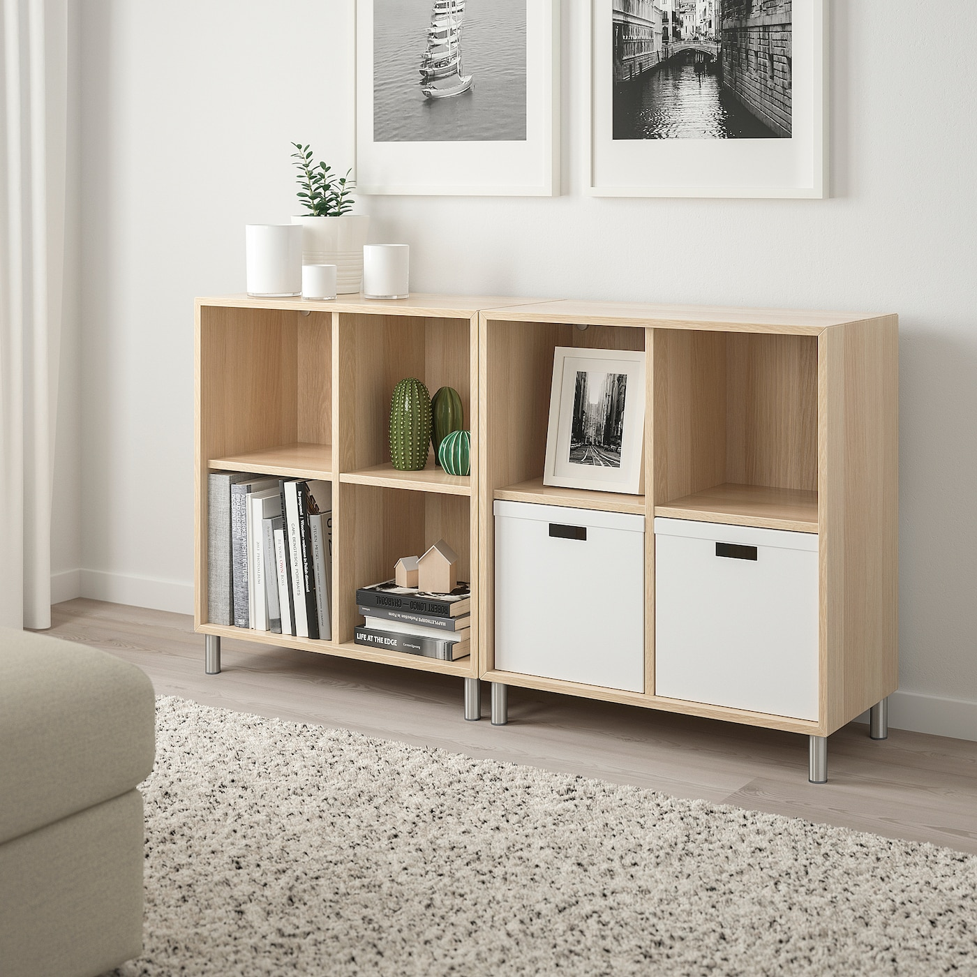 EKET Cabinet combination with legs, white stained oak effect, 140x35x80 cm