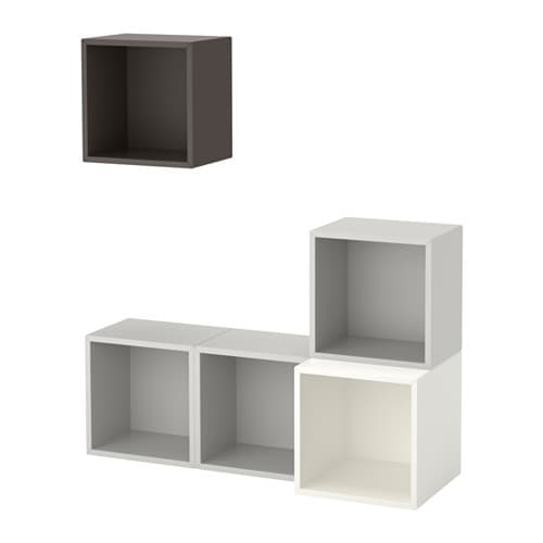 Eket wall mounted cabinet combination white light grey for Mobili tinello