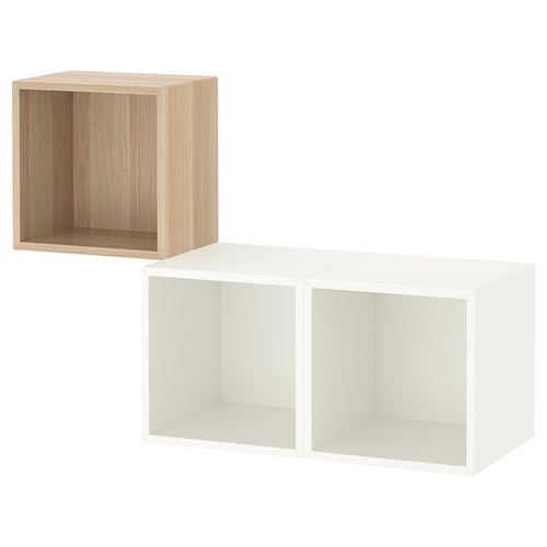 EKET wall-mounted cabinet combination white stained oak effect/white 70 cm 105 cm 35 cm 70 cm