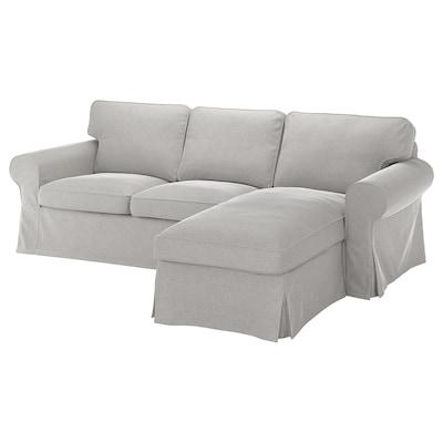 EKTORP 3-seat sofa, with chaise longue/Tallmyra white/black