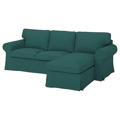 EKTORP 3-seat sofa with chaise longue, Totebo dark turquoise